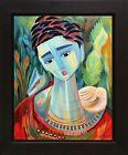 FRIDA KAHLO Art with Dog | Folk Art Original Oil Painting Vivid Colors SFASTUDIO
