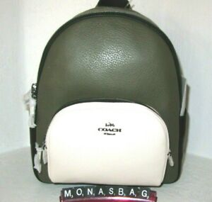 Coach Colorblock Kelp Cream Multi Pebbled Leather Court Backpack C2797 NWT $398