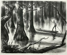 AAA Lithograph 1947 ~ SOUTHERN CYPRESS SWAMP ~ Signed HENRY CLARENCE PITZ