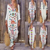 Women Floral Maxi Beach Dress Long Sleeve Casual Boho Kaftan Tunic Gypsy Ethnic