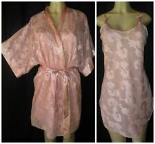M.T. MORGAN TAYLOR Nightgown Robe SET Dust Rose Chiffon W/ SATIN FLORAL S/PS 36