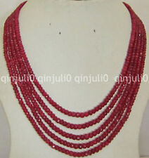 100% Genuine natural 5-row 2x4 mm natural faceted Red ruby abacus Beads necklace