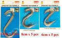 Crochet en Forme de S 3 Tailles Métal au Choix