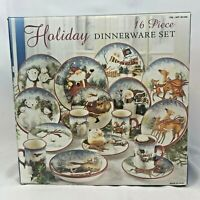 NEW 16 PIECE SET CERTIFIED INTERNATIONAL SUSAN WINGET ENCHANTED CHRISTMAS DINNER