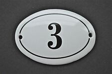 ANTIQUE STYLE SMALL OVAL NUMBER 3 DOOR NUMBER PLAQUE SIGN ENAMEL ON METAL