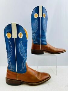 Ladies Brown/ Blue Leather Square Toe Western Cowgirl Boots Size: 8.5 B