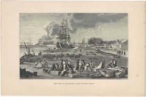 The 18th Century Port of Rochefort 19th Century French Marine Lithograph Print