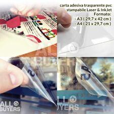 FOGLI ADESIVI TRASPARENTI STAMPABILI A3 A4 PVC x LASER INKJET getto d'inchiostro