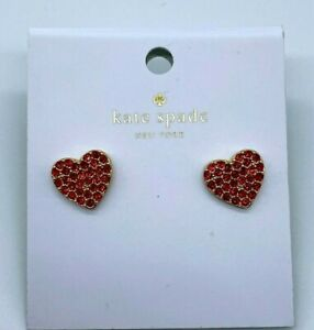 Kate Spade Red Pave Heart Pearl Back Earrings