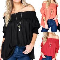 Fashion Womens Casual Blouse Ruffle Sleeve Girls Off Shoulder Plus T-shirt Top