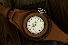 Vintage military watch Molnija + WW1 times New Leather STRAP Band WRISTBAND WWII