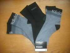 Mens NWT Adidas High Quarter Ankle Socks 3prs Black Gray Fleck L (9-12.5) SOFT!