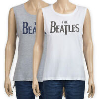 Womens Ladies The Beatles Print Sleeveless Cotton Top White Grey Vest T-Shirt