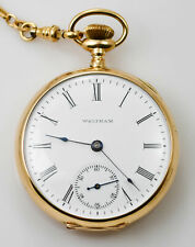 gold case with G.F. Fob - Model 189 1904 Waltham open face pocket watch with 14k