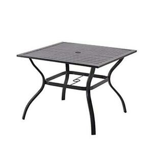 """Patio Dining Table Outdoor Metal Square Table with L37"""" x W37"""" x H28"""" Black"""