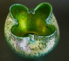 Antique Loetz Rose Bowl Crete Papillon Art Nouveau Green Tiffany Era Glass