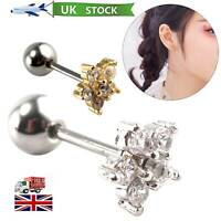 Perky Sparkly Flower Crystal Tragus Helix Bar Cartilage Ear Earring Screw On UK