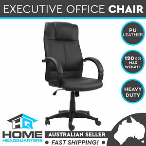 Executive Office Chair High Back Premium Leather Chrome Base Computer Seat Black