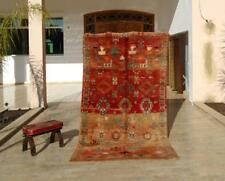 "Rare Vintage Moroccan Handmade Boujad Boujaad Rug Berber Wool Rug 8'11"" x 5'"