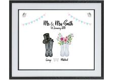 Personalised Wedding Gift Wedding Welly Print - Mr & Mrs Wellies  Bride Gift A4