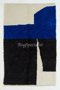 Contemporary Hand Knotted Moroccan Wool Rug in Blue, Black and Cream