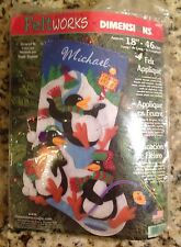 Dimensions Felt Works Playful Penguin Stocking Kit, #8093, Rare Kit