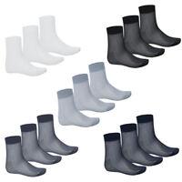 3 Pairs Men Silk Mid-Calf Crew Ankle Liner Casual Sport Nylon Blend  Sock