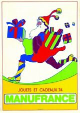 Affiche ancienne rare Manufrance  Pére Noel vintage psychedelique  79 x 110cm