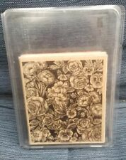 Stampin Up Floral Flowers Large Background Wood Mount Rubber Stamp