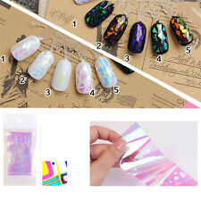 10Pcs Mirror GLASS NAIL Effect Art DIY Decal Transfer Glitter Shattered Sticker