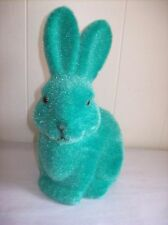 """9"""" Flocked Bunny Figure (Green - turquoise) - SO CUTE!"""