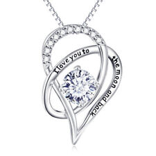 White Gold Plated I Love You To The Moon And Back Vintage Heart Pendant Necklace