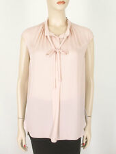 Vince Cap Sleeve Silk Tie Neck Blouse Top Buff Beige-pink Ruched S 9172
