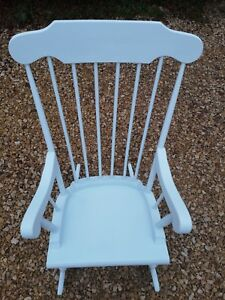 LARGE HAND PAINTED SOLID PINE SPINDLE BACK ROCKING CHAIR IN DUCK EGG BLUE