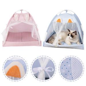 Cute Ear Pet Nest Cat Bed Tent Dog Puppy Curtain House Warmer Sleeping