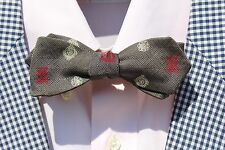 Vintage Gentleman's Grey Diamond-Point Narrow Self-Tie Silk Bow Tie - USA