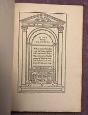 GRABHORN PRESS - ALDUS PIUS MANUTIUS - 1st (1924) 1/250 COPIES - w/ORIGINAL LEAF
