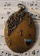Antique French Art Nouveau sliding mirror pendant with enameled shield
