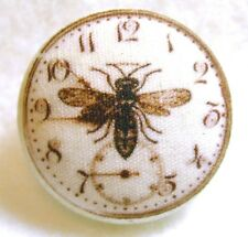 Hand Printed Fabric Button Steampunk Clock with Bee SP 25 FREE US SHIPPING