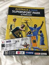 2003 CRICKET WORLD CUP AUSTRALIA v INDIA - OFFICIAL TICKET/PROGRAMME (RARE!)