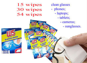 W5 Cleaning Wipes Lens Cloths 15 30 54 Pcs Glasses Camera Phone Tablet Laptop TV