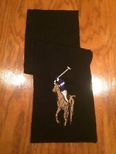 NWT POLO RALPH LAUREN MERINO WOOL BLACK NECK WRAP MULTI COLOR BIG PONY SCARF