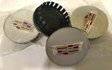 SET OF 4 SILVER 2017 NEW STYLE COLORED CREST CENTER CAPS CADILLAC FACTORY WHEELS