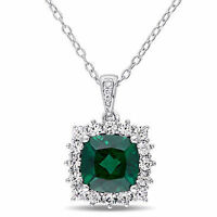 Sterling Silver Emerald White Sapphire and Diamond Halo Pendant Necklace 18""
