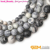 Natural Round Forested Matte Stone Black Web Jasper Beads For Jewelry Making 15""