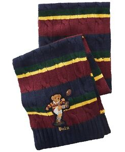 Polo Ralph Lauren Men's Colorblocked Wool Rugby Bear Scarf Multi RARE NEW $125