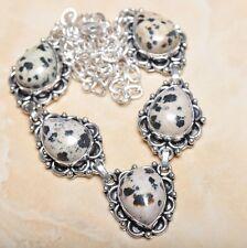 "Handmade Dalmation Jasper Gemstone 925 Sterling Silver Necklace 21"" #N00618"
