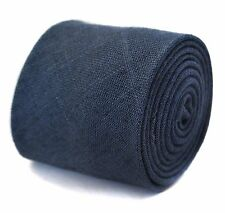 Frederick Thomas mens tie in plain navy blue linen FT2040