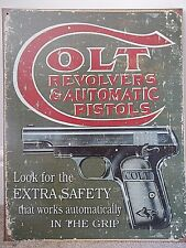 "GUNS SHOOTING 31cm ROUND 12/"" METAL WALL SIGN COLT REVOLVERS /& PISTOLS COWBOY"