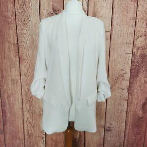 Zara Size M Elegant White Blazer Jacket Ruched Sleeve